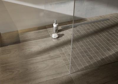Eine bodengleiche Dusche in rauchbraun